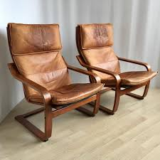 pair of vintage cognaс leather poäng chairs by noboru nakamura for ikea 1999 93219