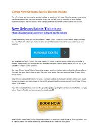 Cheap New Orleans Saints Tickets Online By Ticket Original