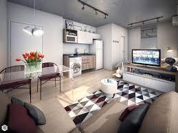 Small Studio Apartment Design With Folk Motifs Poland 33 Sq Design For One Room Apartment