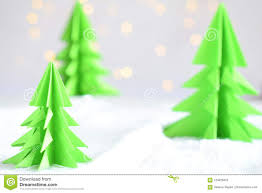Paper Christmas Tree Lights Origami 3d Xmas Tree From Paper On White Background And