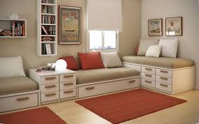 furniture for small spaces bedroom. Interior Design Ideas, Winsome Kids Room Designs Ideas For Small Spaces With Red And White Cushion Bed Storage Also Rug O. Furniture Bedroom
