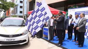 the first batch of tigor evs was handed over today by tata motors dealership m s prerana motors to janani tours officials at their office in hsr layout