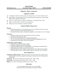 Very Attractive Cook Resume Skills 5 Chef Resume Sample Examples