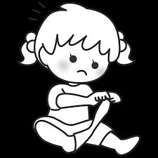 靴下を脱ぐ子供のイラスト4モノクロ白黒