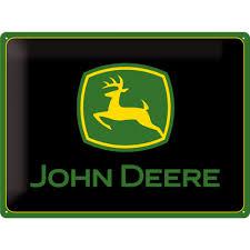 Blechschild John Deere Logo black - AgrarVideo.de