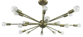 sputnik chandelier vintage brass finish