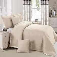 3 piece jacquard beige comforter set