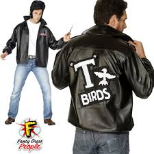 details about mens 50s official grease t bird jacket danny t bird mens fancy dress costume