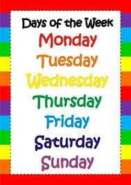 Week Days Chart Days Of The Week Poster Chart Flashcards Classroom Decor