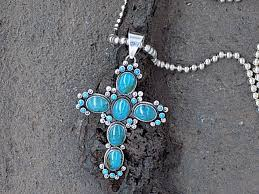 turquoise six stone cross pendant with small accent stones