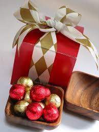 eco friendly acacia bowl with belgian holiday chocolates