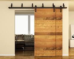 tcbunny 6 6 ft byp double door sliding barn door hardware black j shape hangers 2 x 6 6 foot one piece rail