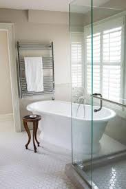 Remodeling Bathroom Floor Impressive Free Standing Tub On An Angle And Glass Corner Shower With Hex Tile