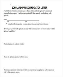 scholarship templates scholarship reference letter templates 5 free word pdf format