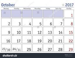 simple digital calendar october 2017 vector stock vector 503609974