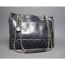 chanel vintage bag. chanel vintage black lambskin leather quilted tote bag