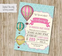 Balloon Birthday Invitations Hot Air Balloon Birthday Invitations La Liga