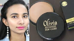 olivia only pan cake makeup tutorial how to use pan cake foundation del review hindi glam