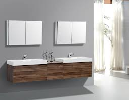modern double bathroom vanities with floating walnut double vanity combined with rectangular white porcelain vessel sink also l shape chrome faucet plus