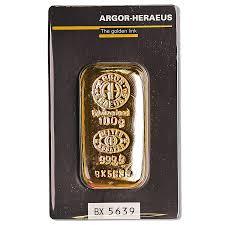 Buy Gold Cast Bars From Argor Heraeus 100 G Swiss Made