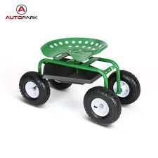 garden scooter seat. IKAYAA Heavy-duty Steel Rolling Garden Cart Work Seat W/ Tray 100KG Capacity Outdoor Scooter \
