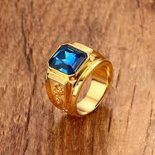 <b>Blue Stone Rings</b> for Women Men <b>Jewelry</b> Gold-color <b>Casting</b> ...