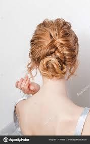 Zadní Pohled Portrét Atraktivní Mladá žena S Krásnou Svatební účes A