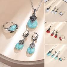 Vintage Leaf Faux Turquoise Pendant Necklace Ring ... - Vova