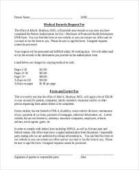 Request For Medical Records Form Template Free 9 Sample Medical Records Request Forms Pdf