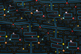 Pac Man Pattern Extraordinary Pacman Retro Video Game Pattern Fabric Khaus Spoonflower