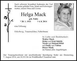 Helga Mack - PNP Trauerportal