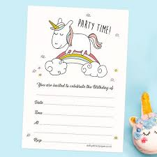 Birthday Invatations Childrens Birthday Invitations Rainbow Unicorn