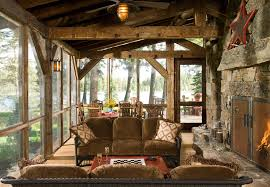 screen porch furniture. Screen Porch Furniture Rustic With Cabin Ceiling Fan Deck. Image By: RMT Architects