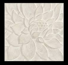 whitewashed carved lotus wall art