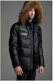 moncler for men black down jacket jackets fur hooded in
