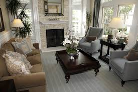 Gray White And Brown Living Room Traditional Living Room Design With Ornate  Dark Wood Coffee Table Two Blue Grey Armchairs