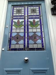 stained glass front door repaired and painted