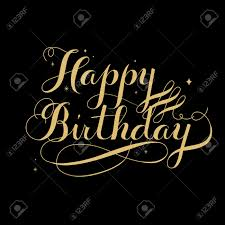 Black Happy Birthday Elegant Happy Birthday Calligraphy Design Over Black Background