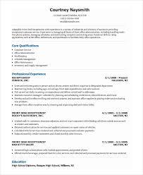 Resume Template Receptionist Commily Com