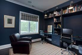 fantastic home office with dual workstations and overhead built in desks blue office walls