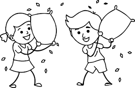 Brother Sister Enjoying Pillow Fighting Family Coloring Page