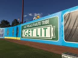 the new dispensary adver sign installed by the las vegas paiute tribe for saay night s game