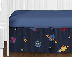 Sweet Jojo Designs Space Galaxy 11pc Crib Bedding Set Blue Bumperless Navy Blue Outer Space Stars Planets Theme Baby Boy Bedding Crib Set