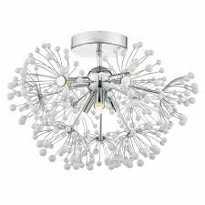 decorative flush chrome and white glass ceiling light