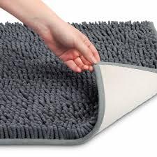 details about soft microfiber bath rug non slip bathroom mat grey