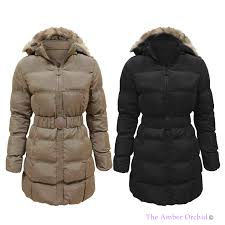 LADIES WOMENS PUFFER QUILTED PADDED FUR HOODED BELTED WINTER COAT ... & LADIES WOMENS PUFFER QUILTED PADDED FUR HOODED BELTED WINTER COAT PARKA  JACKET Adamdwight.com