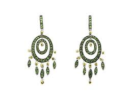 18k white gold tsavorite yellow sapphire dangle drop chandelier earrings