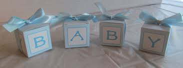 Blue abc block favors. Add candy for a perfect baby shower ...