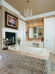 brown transitional master bathroom