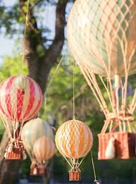 Lovely backdrop for a hot air balloon party- baby shower
